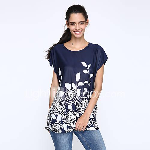 Vrouwen Eenvoudig Zomer T-shirt,Casual/Dagelijks Print Ronde hals Korte mouw Rood / Zwart Zijde Dun