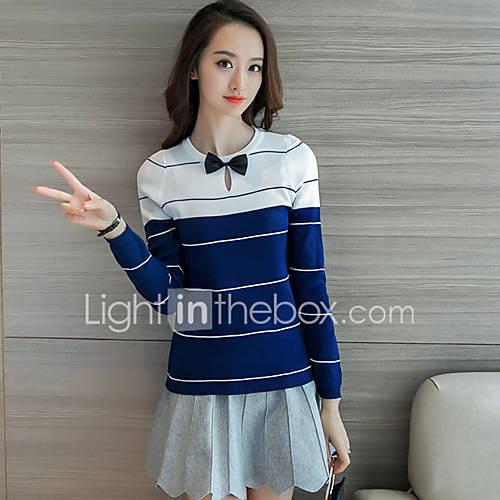 dames-casual-dagelijks-eenvoudig-schattig-normaal-pullover-kleurenblok-blauw-zwart-bruin-grijs-ronde-hals-lange-mouw-polyester-herfst