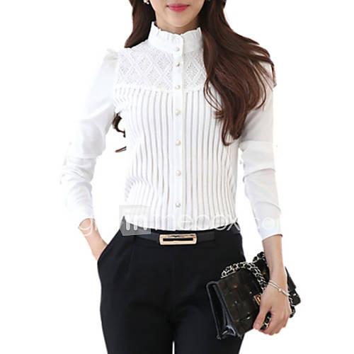 vrouwen-grote-maten-lente-overhemd-casual-dagelijks-effen-opstaand-lange-mouw-wit-polyester-medium