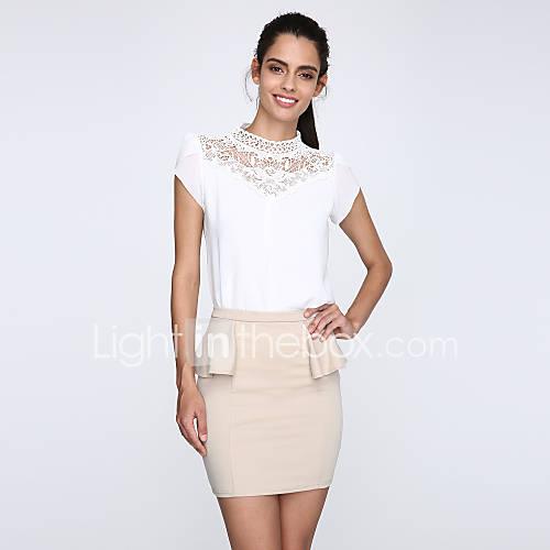 dames-sexy-eenvoudig-lente-zomer-herfst-winter-blouse-casual-dagelijks-werk-effen-opstaand-korte-mouw-wit-polyester-overige