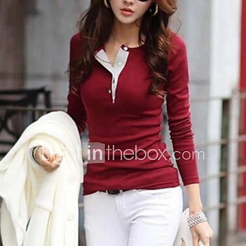 vrouwen-eenvoudig-street-chic-lente-herfst-winter-t-shirt-casual-dagelijks-effen-ronde-hals-lange-mouw-roze-rood-zwart-groen