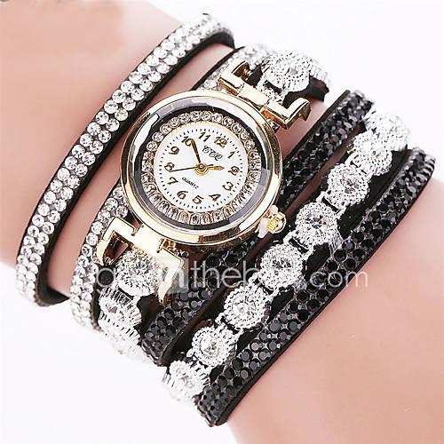 Mujer Reloj Pulsera Cuarzo Brillante / La imitación de diamante Piel Banda Destello Negro / Blanco / Plata Marca Descuento en Lightinthebox