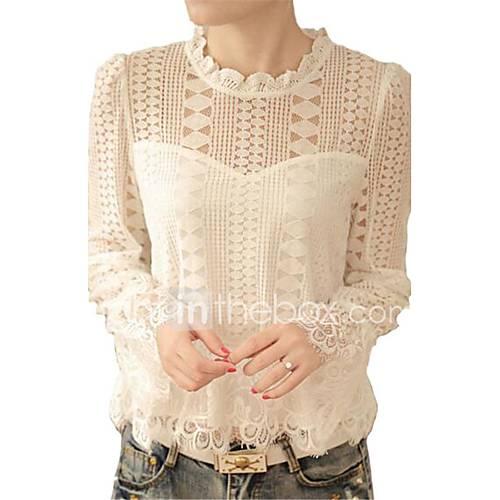 Vrouwen Vintage / Eenvoudig Lente / Herfst T-shirt,Uitgaan / Casual/Dagelijks Effen Ronde hals Lange mouw Wit Polyester Medium