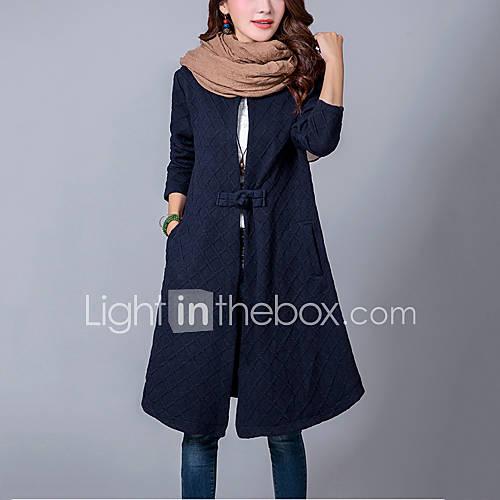 vrouwen-street-chic-herfst-trenchcoat-casual-dagelijks-ronde-hals-lange-mouw-blauw-zwart-effen-medium-katoen-linnen
