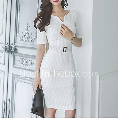 vrouwen-eenvoudig-schede-gestreept-jurk-tot-de-knie-v-hals-katoen-polyester