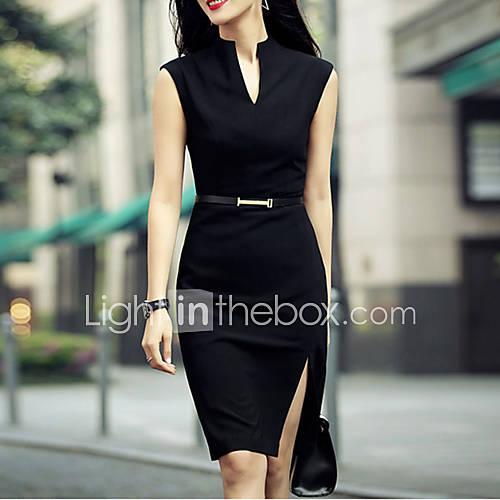 De las mujeres Corte Bodycon Vestido Sexy Un Color Hasta la Rodilla Escote en V Profunda Lino / Poliéster Descuento en Lightinthebox
