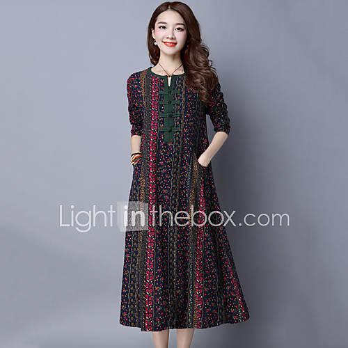 dames-casual-dagelijks-vintage-ruimvallend-jurk-print-v-hals-midi-lange-mouw-blauw-rood-katoen-linnen-lente-herfst-medium-taille