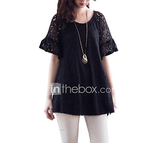 vrouwen-grote-maten-eenvoudig-blouse-uitgaan-effen-ronde-hals-korte-mouw-zwart-rayon-dun