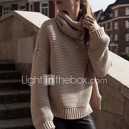 dames-casual-dagelijks-street-chic-normaal-pullover-effen-bruin-coltrui-lange-mouw-polyester-herfst-winter-medium-micro-elastisch