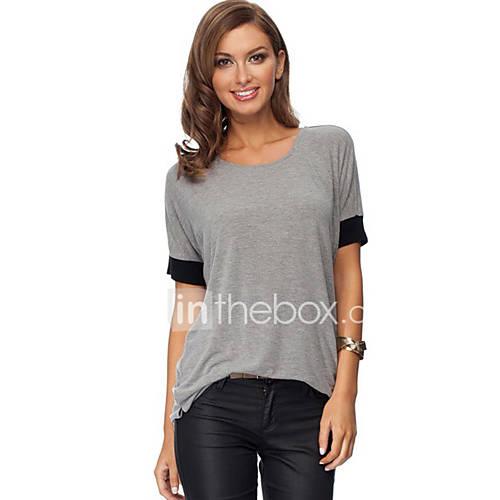 dames-eenvoudig-street-chic-lente-herfst-t-shirt-casual-dagelijks-kleurenblok-ronde-hals-korte-mouw-zwart-grijs-polyester-medium