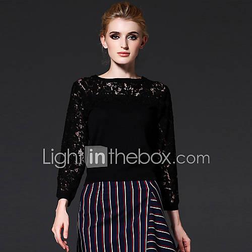 dames-casual-dagelijks-vintage-eenvoudig-normaal-pullover-effen-rood-zwart-ronde-hals-lange-mouw-rayon-nylon-herfst-winter-medium-rekbaar