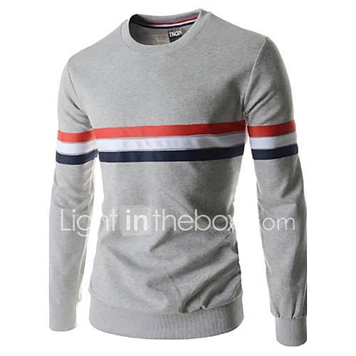 heren-uitgaan-casual-dagelijks-eenvoudig-street-chic-normaal-pullover-effen-gestreept-zwart-grijs-ronde-hals-lange-mouw-katoen-herfst
