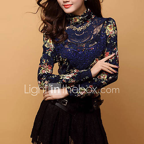 dames-street-chic-herfst-winter-t-shirt-casual-dagelijks-grote-maten-print-coltrui-lange-mouw-blauw-zwart-rayon-polyester-medium