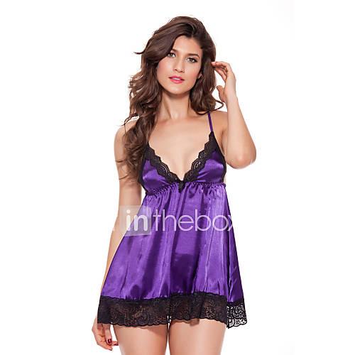 Women's Plus Size Babydoll  Slips Ultra Sexy Nightwear Straped Patchwork - Medium Ice Silk Purple Fuchsia Green Blue Pink