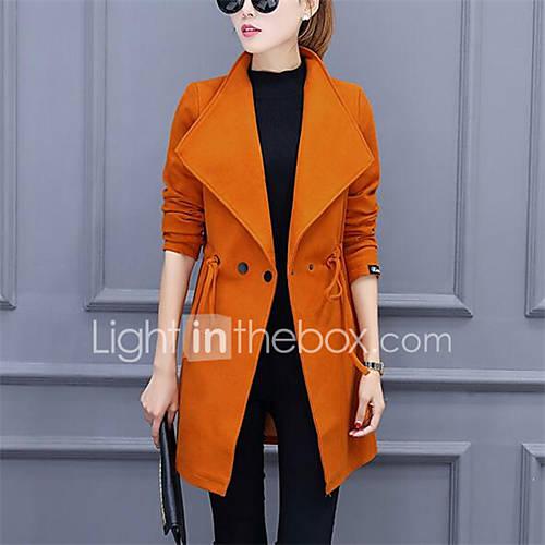 dames-street-chic-herfst-winter-trenchcoat-casual-dagelijks-ingesneden-revers-lange-mouw-rood-zwart-oranje-effen-medium-polyester