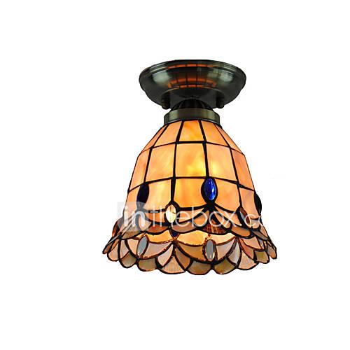 18cm Retro Tiffany Ceiling Lamp Glass Shade Flush Mount
