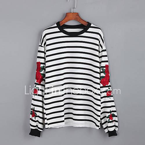 Dames Street chic Herfst T-shirt,Casual/Dagelijks Gestreept Ronde hals Lange mouw Wit / Zwart Katoen Medium