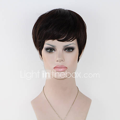 New Pixie Cut Cheap Human Hair Wig Rihanna Black Short Cut