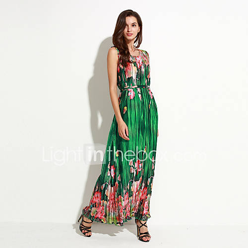 vrouwen-vakantie-grote-maten-boho-chiffon-jurk-bloemen-ronde-hals-maxi-mouwloos-groen-polyester-zomer