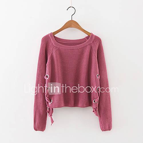 dames-uitgaan-eenvoudig-normaal-pullover-effen-blauw-rood-wit-bruin-ronde-hals-lange-mouw-kasjmier-polyester-herfst-medium-micro-elastisch