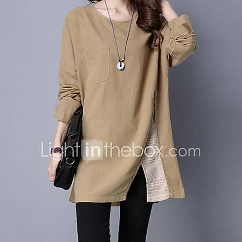 dames-eenvoudig-herfst-winter-t-shirt-casual-dagelijks-effen-ronde-hals-lange-mouw-rood-polyester-medium
