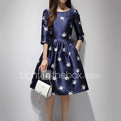 dames-casual-dagelijks-eenvoudig-a-lijn-jurk-print-ronde-hals-tot-de-knie-driekwart-mouw-blauw-polyester-alle-seizoenen-medium-taille