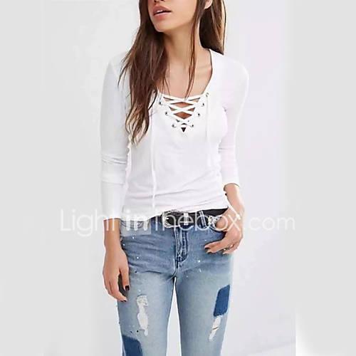 dames-casual-dagelijks-schattig-normaal-pullover-effen-wit-zwart-grijs-v-hals-lange-mouw-kasjmier-polyester-herfst-medium-micro-elastisch