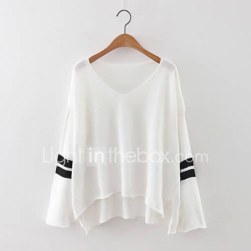dames-casual-dagelijks-eenvoudig-normaal-pullover-effen-wit-zwart-grijs-v-hals-lange-mouw-kasjmier-polyester-herfst-medium-micro-elastisch