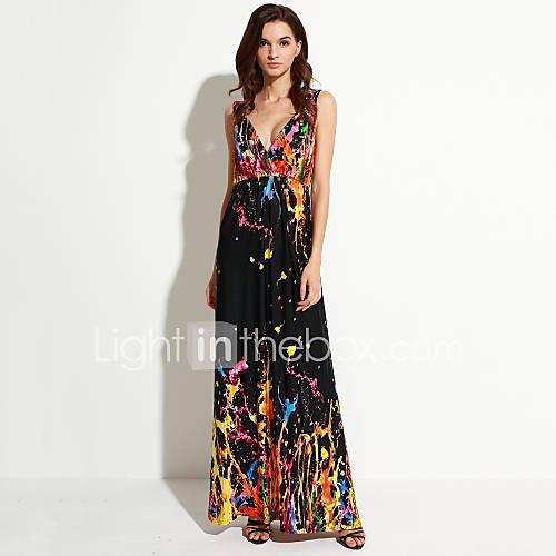 vrouwen-vakantie-grote-maten-boho-wijd-uitlopend-jurk-regenboog-bandje-maxi-mouwloos-oranje-katoen-polyester-zomer
