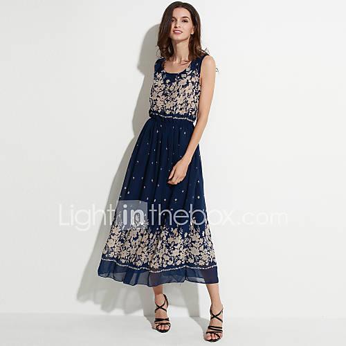 vrouwen-street-chic-wijd-uitlopend-print-jurk-maxi-ronde-hals-polyester