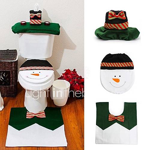 sets happy snowman christmas bathroom set toilet seat cover rug xmas