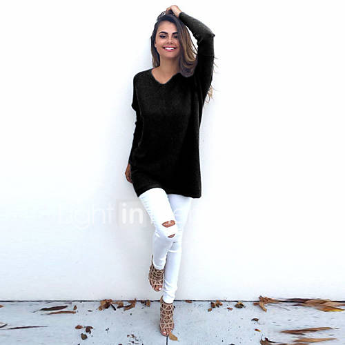 dames-casual-dagelijks-eenvoudig-normaal-pullover-effen-blauw-roze-wit-beige-zwart-grijs-v-hals-lange-mouw-katoen-herfst-winter-medium