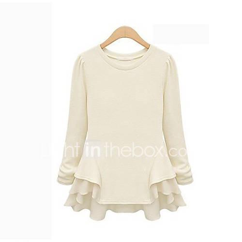 Dames Eenvoudig Herfst / Winter T-shirt,Uitgaan Effen Ronde hals Lange mouw Wit / Zwart Polyester Medium
