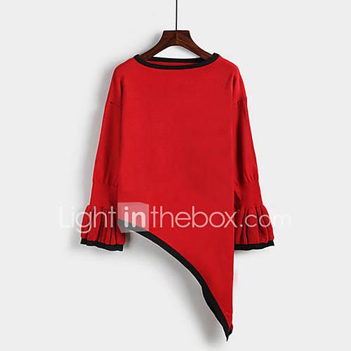 dames-uitgaan-casual-dagelijks-sexy-schattig-street-chic-normaal-pullover-effen-blauw-rood-zwart-ronde-hals-lange-mouw-overige-herfst