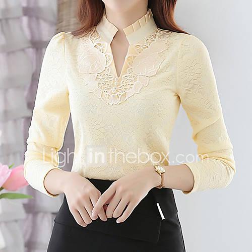 dames-eenvoudig-herfst-winter-t-shirt-uitgaan-effen-opstaand-lange-mouw-wit-zwart-geel-polyester-medium