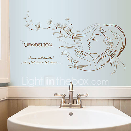 Dandelion Flying Beautiful Girl Wall Stickers Diy