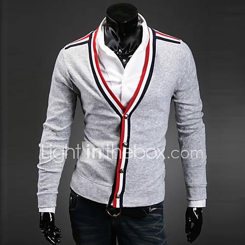 heren-casual-dagelijks-eenvoudig-normaal-vest-kleurenblok-zwart-grijs-v-hals-lange-mouw-overige-herfst-winter-medium-micro-elastisch