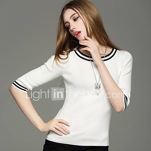 dames-uitgaan-casual-dagelijks-eenvoudig-schattig-street-chic-normaal-pullover-kleurenblok-blauw-wit-zwart-geel-ronde-hals-halflange-mouw