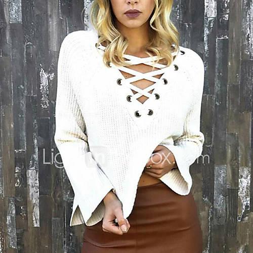 dames-uitgaan-sexy-normaal-pullover-effen-roze-wit-zwart-groen-oranje-v-hals-lange-mouw-polyester-herfst-winter-medium-micro-elastisch