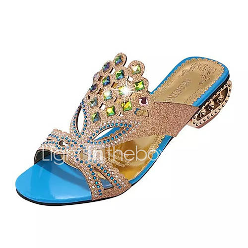 Women's Slippers  Flip-Flops Summer Comfort PU Dress Chunky Heel Crystal / Crystal Heel Black / Blue / Green