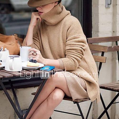 dames-casual-dagelijks-street-chic-lang-pullover-effen-bruin-grijs-coltrui-lange-mouw-polyester-herfst-winter-medium-micro-elastisch