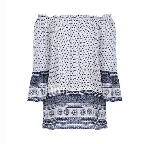 dames-vintage-eenvoudig-alle-seizoenen-t-shirt-uitgaan-casual-dagelijks-paisley-schouderafhangend-lange-mouw-wit-polyester-medium