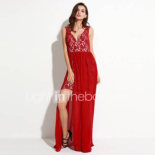 vrouwen-feestjecocktail-sexy-vintage-schede-jurk-effen-diepe-v-hals-maxi-mouwloos-rood-wit-polyester-zomer
