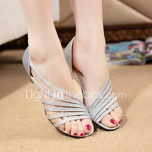 Women's Sandals Summer Comfort PU Casual Chunky Heel Crystal Purple Silver Gold Others