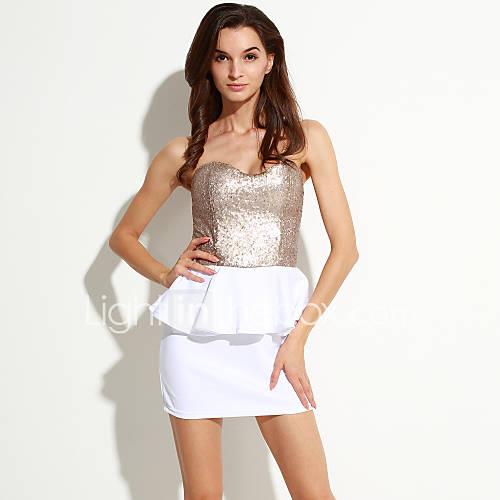 strapless-polyester-ruche-mini-vrouwen-jurk-mouwloos