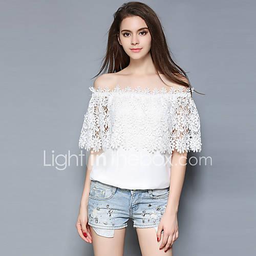 dames-eenvoudig-street-chic-alle-seizoenen-blouse-uitgaan-casual-dagelijks-effen-boothals-korte-mouw-wit-polyester-dun