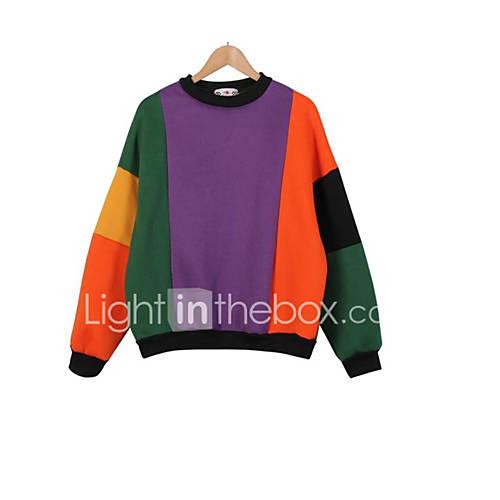 dames-actief-eenvoudig-casual-dagelijks-sweatshirt-kleurenblok-ronde-hals-rekbaar-katoen-lange-mouw-herfst-winter