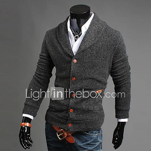 heren-uitgaan-casual-dagelijks-eenvoudig-street-chic-normaal-vest-effen-blauw-zwart-grijs-v-hals-lange-mouw-katoen-herfst-winter-medium