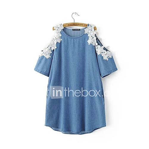 dames-uitgaan-street-chic-denim-jurk-geborduurd-ronde-hals-boven-de-knie-halflange-mouw-blauw-polyester-alle-seizoenen-medium-taille