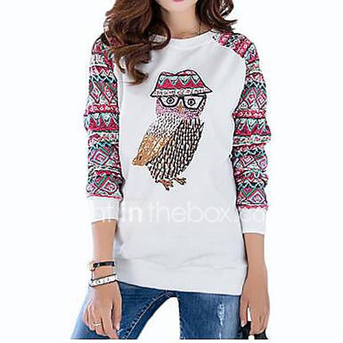 Dames Schattig Herfst / Winter T-shirt,Uitgaan / Casual/Dagelijks Dierenprint Strakke ronde hals Mouwloos Blauw / Wit Katoen Medium